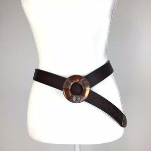 Chico's Brown Cowhide Boho Leather Belt Size M